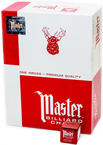 (Master Billiard/Pool Cue Chalk, Gross Box, 144 Cubes, Red)