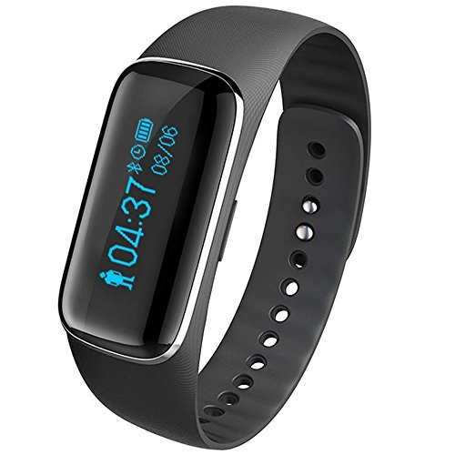 XUZOU Wireless Activity Wristband, Smart Fitness Tracker with a Pedometer, Step Counter, Distance Counter, Sleep Monitor, Black