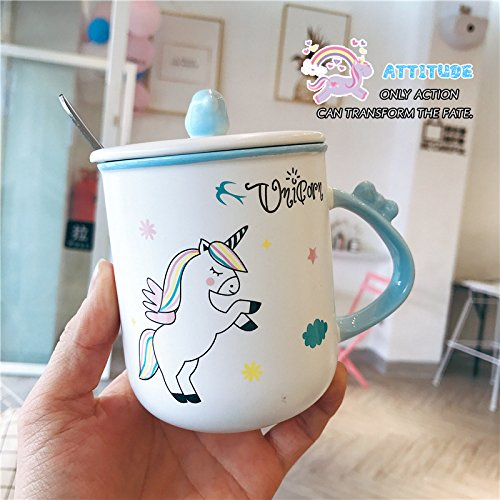 - Yomiokla The lovely ceramic jar with lid with the spoon to mark water bowl pink bubblegum girl heart princess tea cup of water, blue ceramic cup