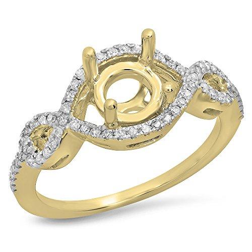 14k Gold Diamond Semi Mount (0.25 Carat (ctw) 14K Yellow Gold Round Diamond Swirl Bridal Semi Mount Engagement Ring 1/4 CT (Size 7))
