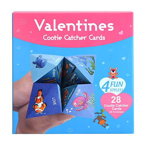 Valentines Cards for Kids, Valentines Cootie Catcher Cards with Envelopes Pack of 28 Cards, Great for Kids Card Games, School Classroom Games, Love Party Favors Supplies
