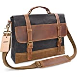 Best Messenger Bags With Leather Straps - NEWHEY Mens Messenger Bag Waterproof Canvas Leather Computer Review