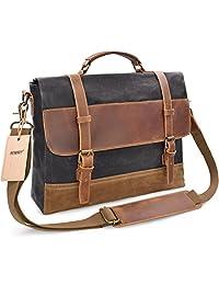 NEWHEY Mens Messenger Bag Waterproof Canvas Leather Computer Laptop Bag 15 Inch Briefcase Case Vintage Retro Waxed Canvas Genuine Leather Large Satchel Shoulder Bag College Grey