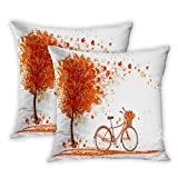 Houlor Set of 2 Throw Pillow Covers Autumn Tree with Aged Old Bike Fall Tree November Day Fall Season Park Nature Theme 20 x 20 Inches Cushion Pillowcase for Living Room Bedroom Dorm Hidden Zipper