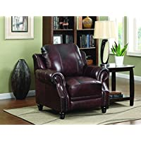 Coaster Home Furnishings Traditional Push Back Recliner, Burgundy