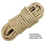 100% Natural Hemp Ropes - LUOOV® 8mm Thickness and Strong Jute Rope,Camping Rope,Multi Purpose Utility Sisal Rop,10m(32ft)-40m(128ft) (10m(32ft))