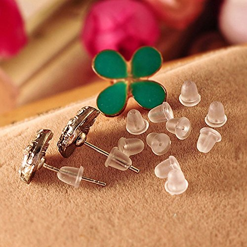 Gbell 150 Pcs Clear Rubber Clutch Earring Backs for Women Girls Ladies Fish Hook Earrings (White)