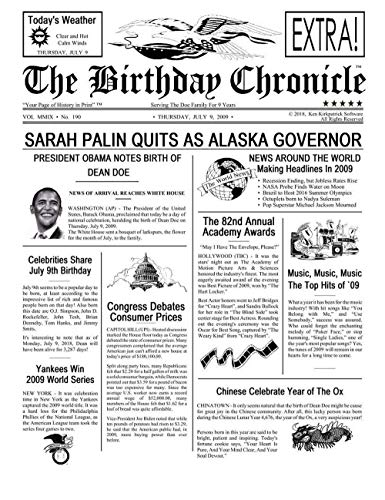 Customized Personal Birthday Newspaper Chronical Print for the Day You Were Born from 1900 to 2015