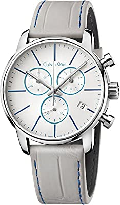 Calvin Klein K2G271Q4 White Dial Grey Leather Men's Watch