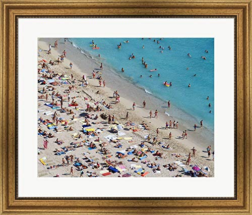 Aerial View of People at The Beach, Waikiki Beach, Honolulu, Oahu, Hawaii, USA Framed Art Print Wall Picture, Wide Gold Frame, 28 x 24 inches
