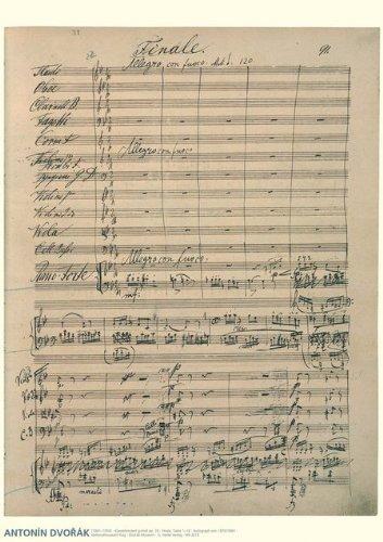 Dvorak Music Manuscript Poster: Piano Concerto in G minor, Op. 33 Finale (Allegro con ()