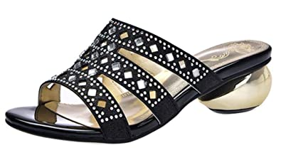 Easemax Femme Brillant Strass Talon Bloc Bout Ouvert Mules  Amazon ... f2267025be67