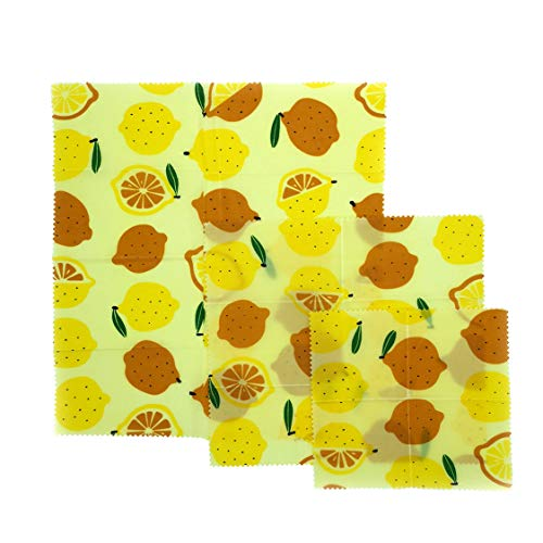 ANLOMI Reusable Beeswax Food Wraps - Set of 3 Pack, Eco Friendly Sustainable Biodegradable Food Storage Wraps, Sandwich Snack Wraps (Food Storage Containers Bap Free)
