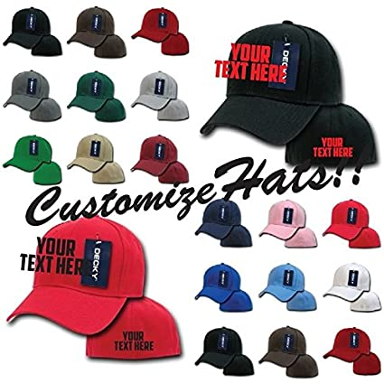 c8a0cd2ba7b DECKY Custom Embroidery Personalized Embroidered Customized Curved Bill  Fitted Cap 402 (1 Location (Text
