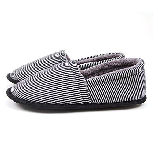 Slippers Cotton Winter Men Thick Basement Indoor Home Non Comfort Shoes Black strips