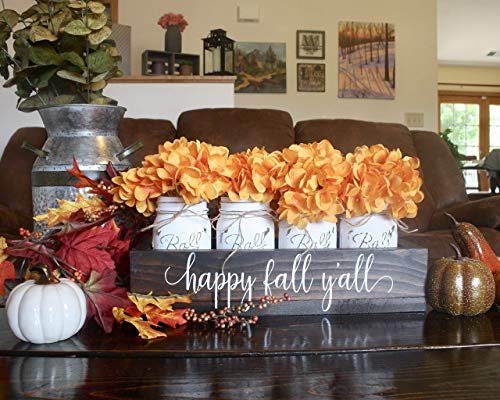 Thanksgiving Table Decorations. Happy Fall Y'all Mason Jar Centerpiece. Fall Thanksgiving Table Decor. Painted Mason Jars With Planter Box for $<!--$70.00-->