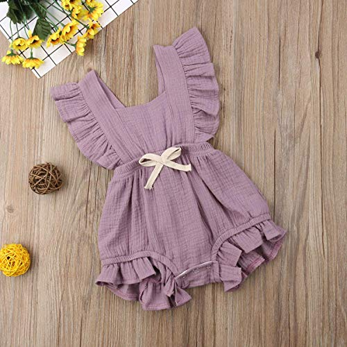 Infant Baby Girl Bodysuit Sleeveless Ruffles Romper Sunsuit Outfit Princess Clothes (Purple, 12-18 Months) by C&M Wodro (Image #5)