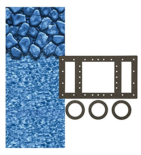 Swirl Beaded Pool Boulder Liner (Smartline Boulder Swirl 24-Foot Round Liner | UniBead Style | 52-Inch Wall Height | 20 Gauge Virgin Vinyl | Designed for Steel Sided Above-Ground Swimming Pools | Universal Gasket Kit Included)