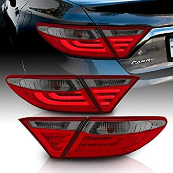 LH For 2015-2017 Toyota Camry 4Dr Sedan Red Smoke LED Tail Lights Lamps Set RH