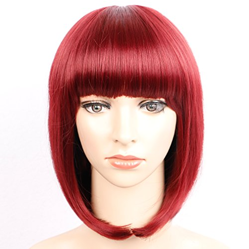 Colorful Bird Short Straight Bob Hair Wig with Flat Bangs Synthetic Red Bob Wig for Women Cosplay Halloween Party Wig Burgundy Heat Resistant (Red,12 inches) -