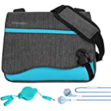 Sky Blue 10.5 inch Tablet Carrying Bag for Amazon Fire Tablets, Kindle e-Readers with Audio Splitter and Headphones