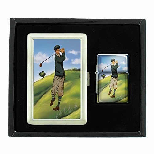 Perfection In Style Cigarette Case and Oil Lighter Gift Set Vintage Golf Design 002 by Perfection In Style