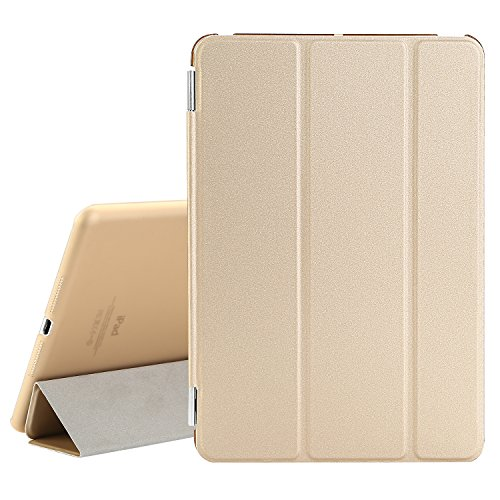 BESDATA Ultra Thin Magnetic Smart Cover [Wake/Sleep Function] & Translucent Back Case for Apple 1st Gen Generation iPad Mini + Screen Protector + Cleaning Cloth + Stylus (Gold) (Ipad Mini Case Generation 1)