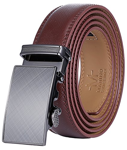 - Marino Men's Genuine Leather Ratchet Dress Belt With Automatic Buckle, Enclosed in an Elegant Gift Box - Gunblack Silver - Adjustable from 28