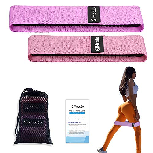GIMCALO Booty Resistance Bands for Legs and Butt, Non-Slip Thick Elastic Band Exercise, Heavy Fabric Butt Loop Workout for Women Men, Activate Glutes | Thighs, Hip Bands (Pink(S)/Purple(M))