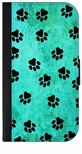 Paw Wallet Prints (Pawprints on Blue Grunge - Flip Wallet Style Phone Case Compatible with the Standard Apple iPhone 7/ Apple iPhone 8 - Universal)
