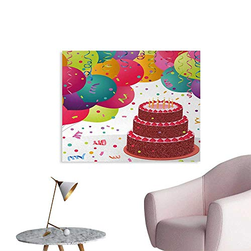 Birthday Cool Poster Strawberry Triplex Cake with Candles Ribbons Balloons Newborn Celebration Theme Home Decor Wall Multicolor W36 -