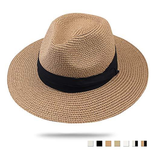 FURTALK Panama Hat Sun Hats for Women Men Wide Brim Fedora Straw Beach Hat UV UPF 50 Brown