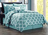 12-Piece Oversize Lattice Quatrefoil Designer Comforter Set King Size Bed In A Bag with Sheets, Euro Shams and Decorative Pillows (Light Blue, White)