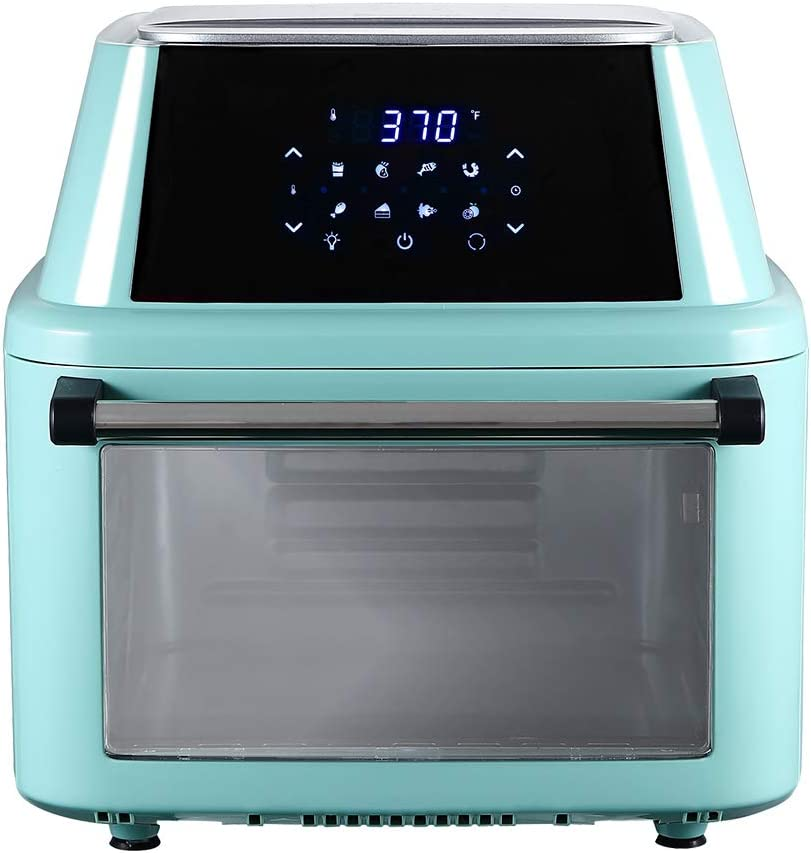 Air Fryer Oven 16L, Multifunction Large Oilless Countertop Oven with LED Digital Touchscreen, Accessories and Recipe Included (Mint Green)