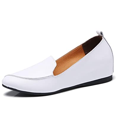 Womens Leather Loafer Wedge Shoes