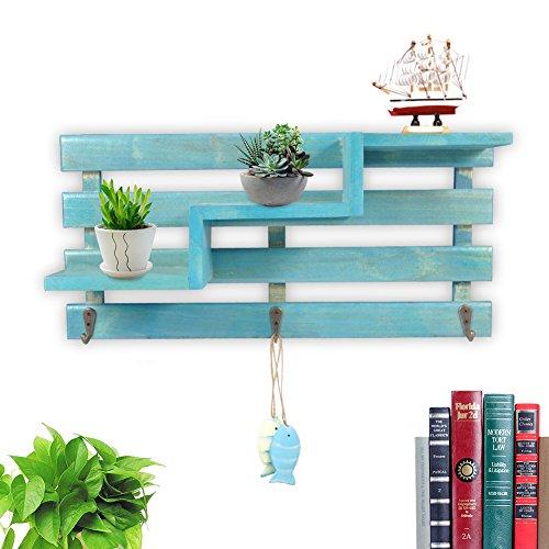 Yosoo Floating Shelves Wooden Storage Rack Trapezoid Shape Wall Shelf Wood Organize Shelf Home Ornament Wall Decor (Blue)