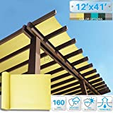 Patio Paradise 12' x 41' Sunblock Shade Cloth Roll,Canary Yellow Sun Shade Fabric 95%UV Resistant Mesh Netting Cover for Outdoor,Backyard,Plant,Greenhouse,Barn