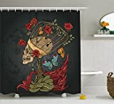 Ambesonne Skull Shower Curtain, Evil Mexican Sugar Skeleton with Kitsch Bush of Roses Snake and Butterfly Artwork, Fabric Bathroom Decor Set with Hooks, 70 Inches, Ruby Dark Grey