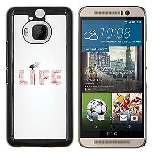 Ama la vida- Metal de aluminio y de plástico duro Caja del teléfono - Negro - HTC One M9+ / M9 Plus (Not M9)