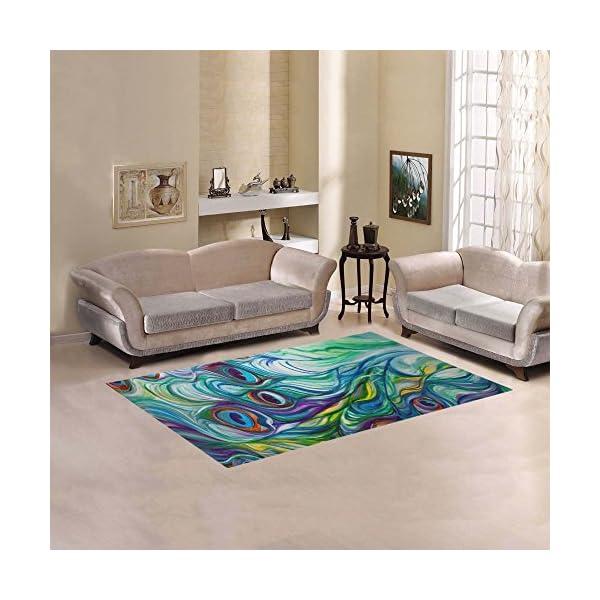 JC-Dress Area Rug Cover Peacock Modern Carpet Cover 5'x3'3″