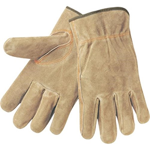 MCR Safety 3130L Regular Grade Cow Split Leather Driver Unlined Men's Gloves with Keystone Thumb, Brown, Large, 1-Pair Memphis Split Leather Driver