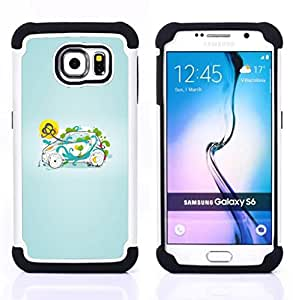 For Samsung Galaxy S6 G9200 - smart small green nature Dual Layer caso de Shell HUELGA Impacto pata de cabra con im??genes gr??ficas Steam - Funny Shop -