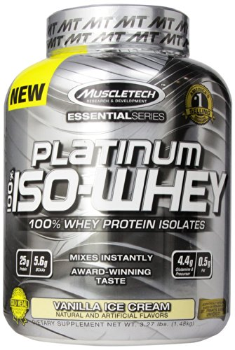 MuscleTech Platinum 100% Supplément ISO lactosérum, Vanilla Ice Cream, 3,27 Pound