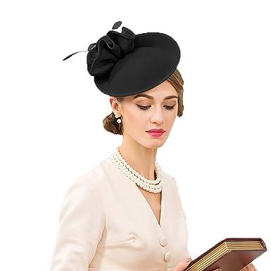 1e2b419f0a4fa FADVES Wedding Wool Pillbox Fascinators Felt Fedora Hats Women Flower Derby  Church Tilt Hat Black
