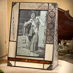 J Devlin Pic 320-46V Tiffany Styled Stained Glass Photo Frame Brown and Ivory Opalescent Holds 4x6 Portrait Vertical Picture