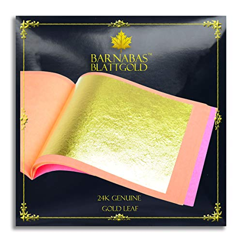 Genuine Gold Leaf Sheets 24k - by Barnabas Blattgold - 3.1 inches - 25 Sheets Booklet - Loose Leaf ()