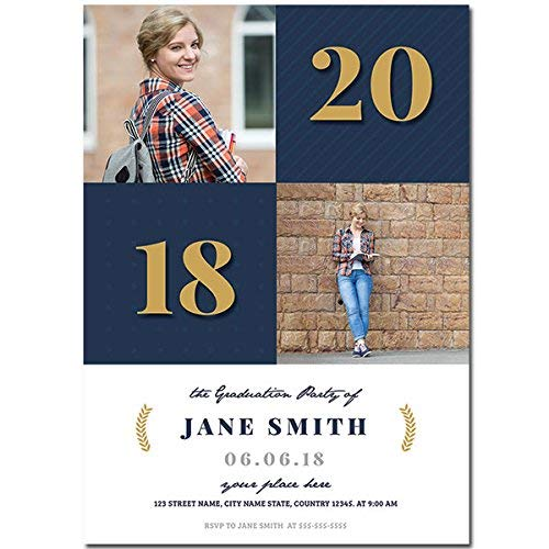 - Blue Squares Custom Photo Graduation Invitation