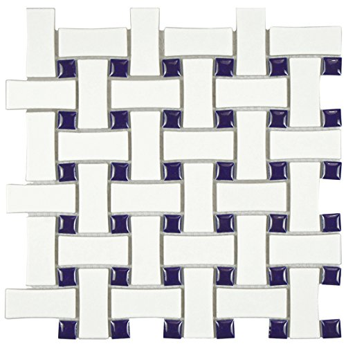 - SomerTile FDXMBWWC Retro Basket Weave Glazed Porcelain Mosaic Floor and Wall Tile, 10.5