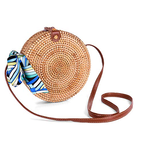Round Rattan Bags, Handmade Bali Ata Straw Woven Circle Crossbody Handag for Women with Shoulder Leather Strap (Bali Bags Rattan)