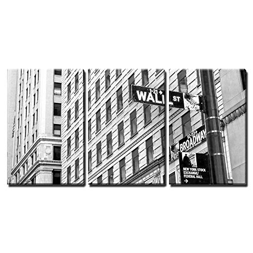 wall26 - 3 Piece Canvas Wall Art - Sign on Wall Street in New York City - Modern Home Decor Stretched and Framed Ready to Hang - 24